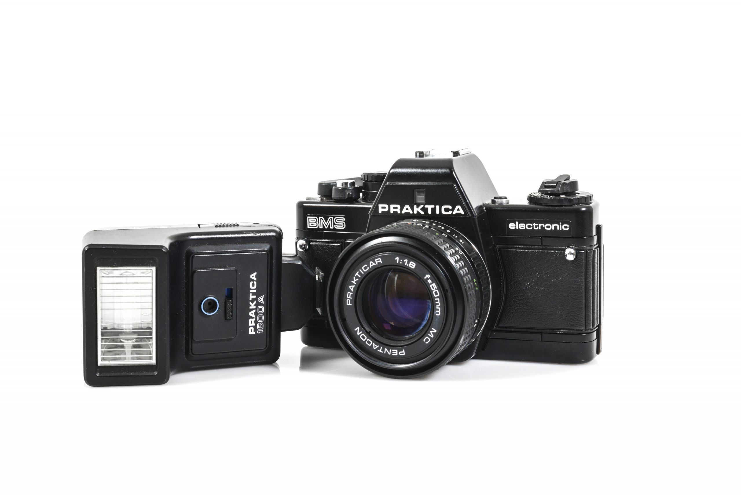 Immaculate Praktica BMS 35mm Film Camera with 50mm Lens + Flash Gun